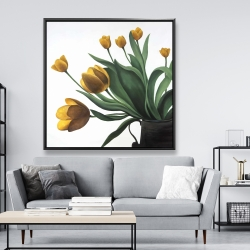 Framed 48 x 48 - Yellow tulips
