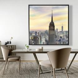 Framed 48 x 48 - Sunset over new york city