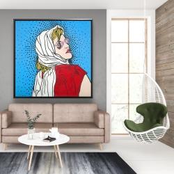 Framed 48 x 48 - Pop art woman