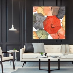 Framed 48 x 48 - The umbrellas of petit champlain