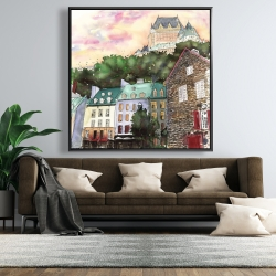 Framed 48 x 48 - Château frontenac in the petit champlain