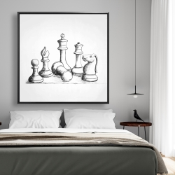 Framed 48 x 48 - Chess game pieces