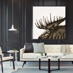 Framed 48 x 48 - Moose plume sepia