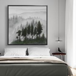 Framed 48 x 48 - Mountains landscape in dark watercolor