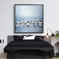 Framed 48 x 48 - Boats at the dock 2