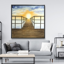 Framed 48 x 48 - Sunset in the sea
