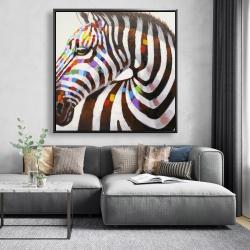 Framed 48 x 48 - Colorful zebra