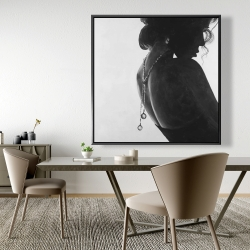 Framed 48 x 48 - Chic woman with jewels