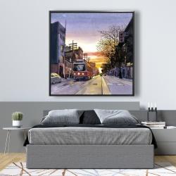 Framed 48 x 48 - Sunset streetscape to toronto