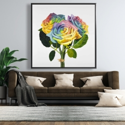 Framed 48 x 48 - Bouquet of rainbow roses