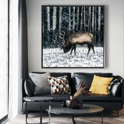 Framed 48 x 48 - Caribou in the winter forest