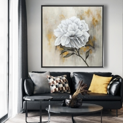 Framed 48 x 48 - White peony