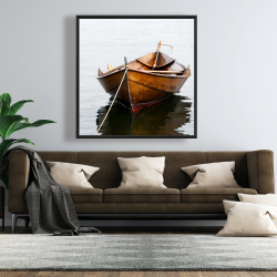 Framed 48 x 48 - Rowboat on calm water