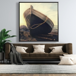Framed 48 x 48 - Rowboat at the water's edge
