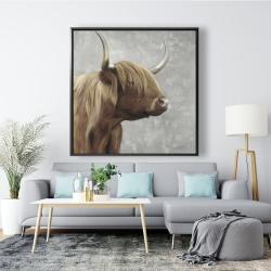 Framed 48 x 48 - Beautiful desaturated higland cattle