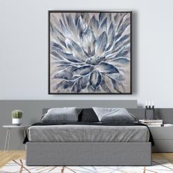 Framed 48 x 48 - Blue and gray flower