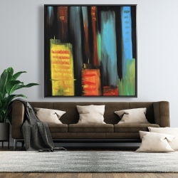Framed 48 x 48 - Abstract tall buildings