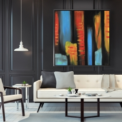 Framed 48 x 48 - Abstract and colorful tall buildings
