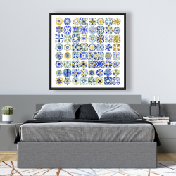 Framed 48 x 48 - Watercolor traditional moroccan tiles