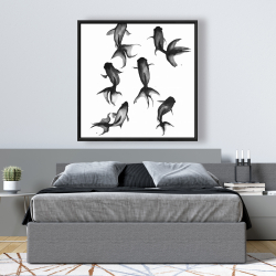 Framed 48 x 48 - Black fishes