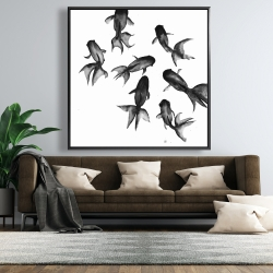 Framed 48 x 48 - Small black fishes