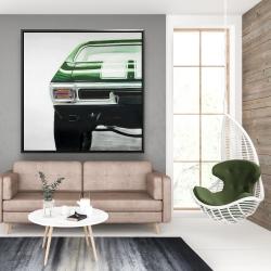 Framed 48 x 48 - Classic dark green car