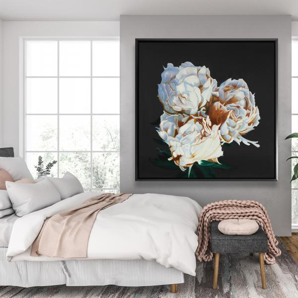 Framed 48 x 48 - Blooming peonies