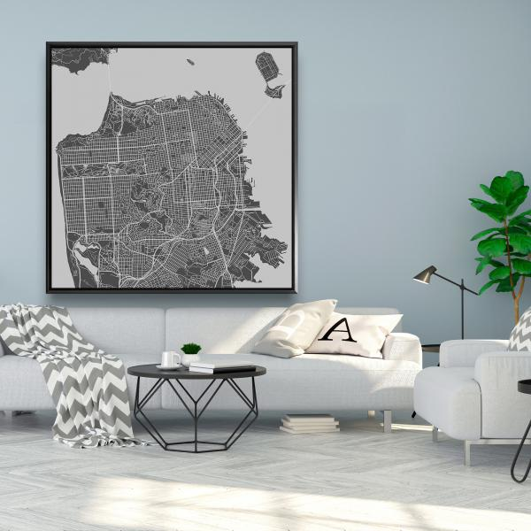 Framed 48 x 48 - San francisco city plan