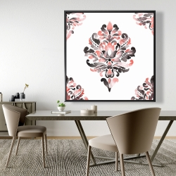 Framed 48 x 48 - Coral baroque ornament