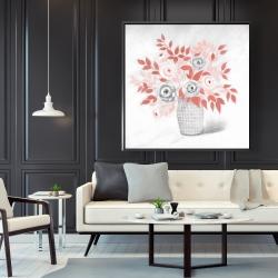 Framed 48 x 48 - Coral flower illustration