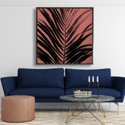 Framed 48 x 48 - Coral tropical palm leave