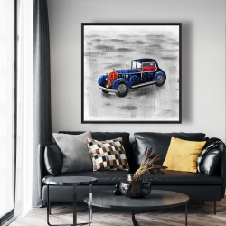 Framed 48 x 48 - Vintage blue toy car