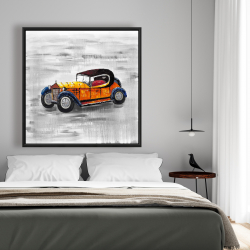 Framed 48 x 48 - Yellow vintage car toy