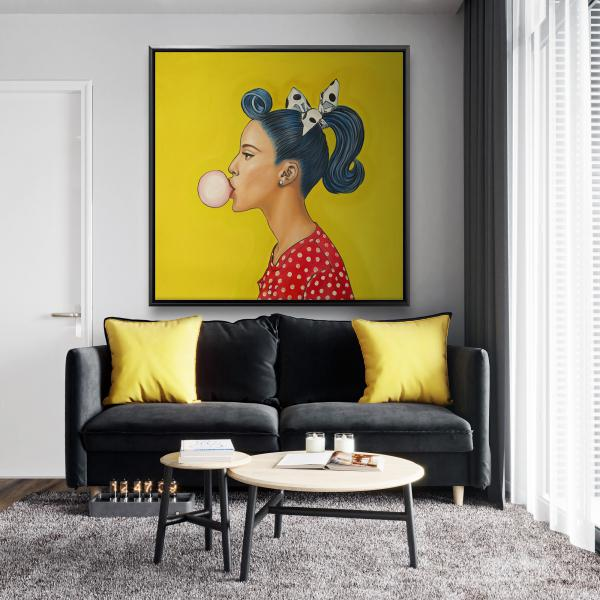 Framed 48 x 48 - Retro woman with beautiful ponytail