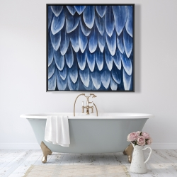 Framed 48 x 48 - Plumage blue