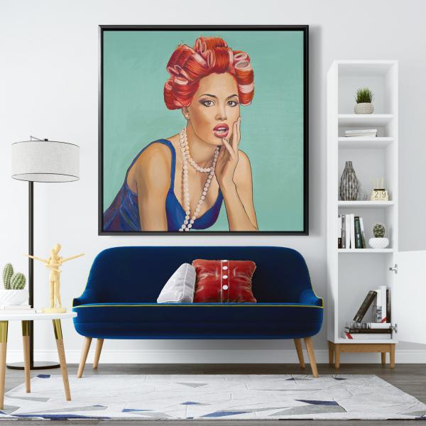 Framed 48 x 48 - Pin up girl with curlers