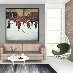 Framed 48 x 48 - Young hockey players