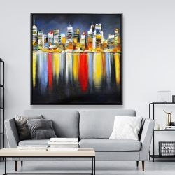 Framed 48 x 48 - Colorful reflection of a cityscape by night