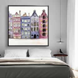 Framed 48 x 48 - Old historic houses amsterdam