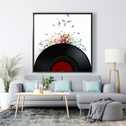 Framed 48 x 48 - Notes escaping from a vinyl record