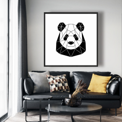 Framed 48 x 48 - Geometric panda