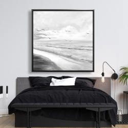 Framed 48 x 48 - Monochrome tropical sunset