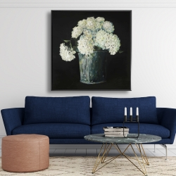 Framed 48 x 48 - White hydrangea flowers