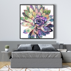 Framed 48 x 48 - Multicolored succulent
