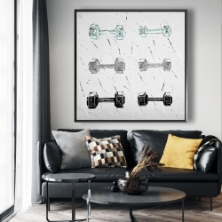 Framed 48 x 48 - Dumbbells