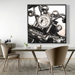 Framed 48 x 48 - Realistic sepia motorcycle