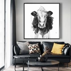 Framed 48 x 48 - Cow