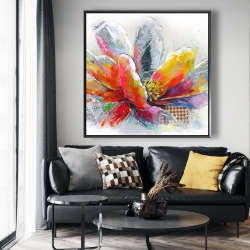 Framed 48 x 48 - Abstract flower with texture