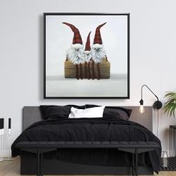 Framed 48 x 48 - Three christmas gnomes
