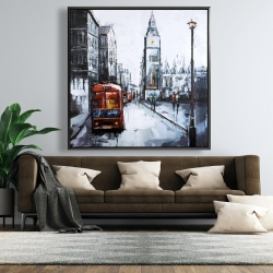 Framed 48 x 48 - Abstract london and red bus
